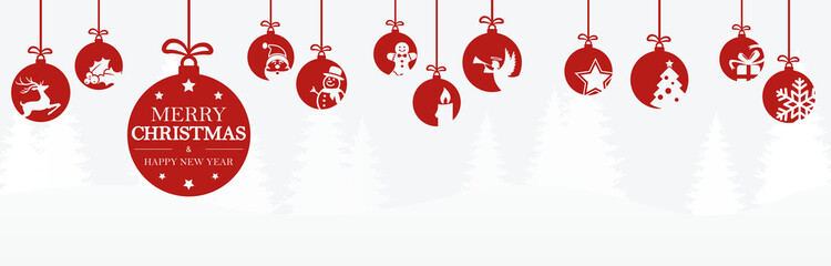 Fototapetahanging baubles with christmas icons and greetings