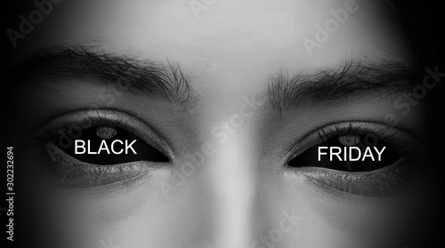 Spoed Foto op Canvas Panter close up of evil female eyes black friday eye