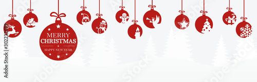 hanging baubles with christmas icons and greetings - 302232699