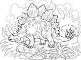 Fototapeta Dinusie - Cartoon prehistoric dinosaur stegosaurus, coloring book, funny illustration