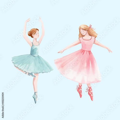 Photo Watercolor vector retro cute dancing girls ballet nutcracker ballerina clip art