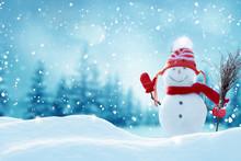 Happy  Snowman Standing In Chr...