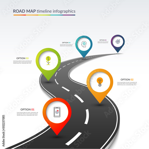 Fotomural  Road map timeline infographic template with 5 colorful pin pointers on the way