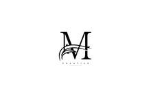 Capital Letter M Monogram Minimal Beauty Swoosh Style Logo