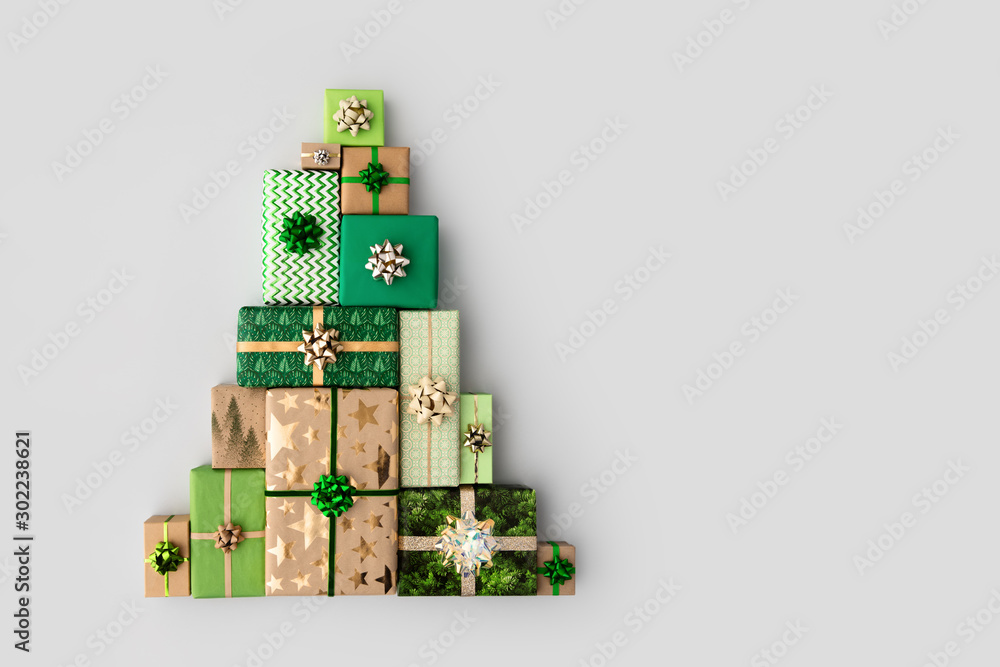 Fototapety, obrazy: Christmas tree made from Christmas gifts