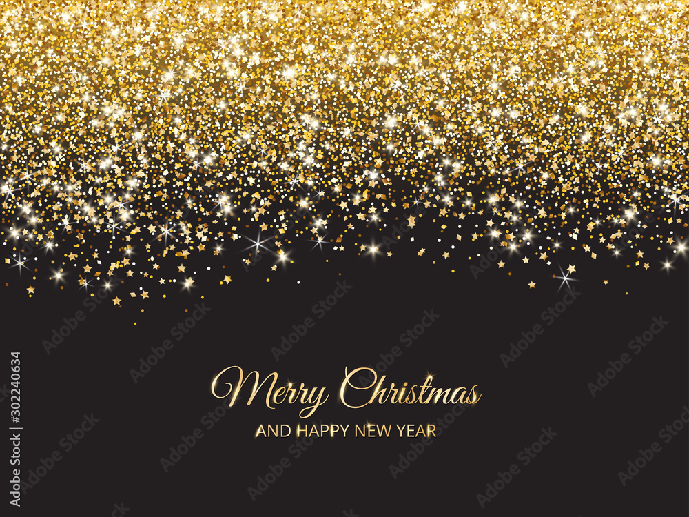 Fototapety, obrazy: Merry Christmas and New Year background. Gold glitter decoration