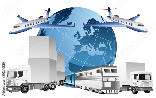 Global logistics concept, 3d vector trucks, ship, train, vector illustration Slika na platnu