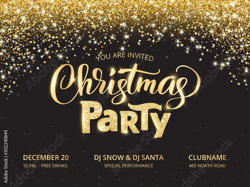 Obraz Christmas party poster template. Sparkling glitter holiday background - fototapety do salonu
