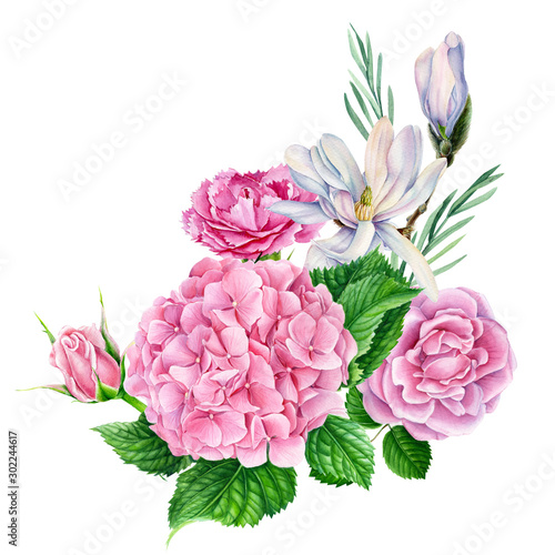 bouquet of flowers, magnolia, hydrangea, carnation, pink rose with green leaf, beautiful flower on a white background, watercolor illustration, botanical painting