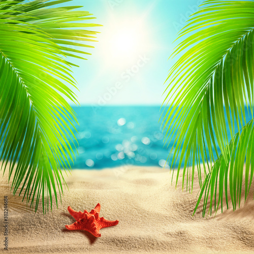 Beautiful tropical beach background. Summer landscape with coco palms on blur defocused blue sea or ocean background. Summer vacation concept