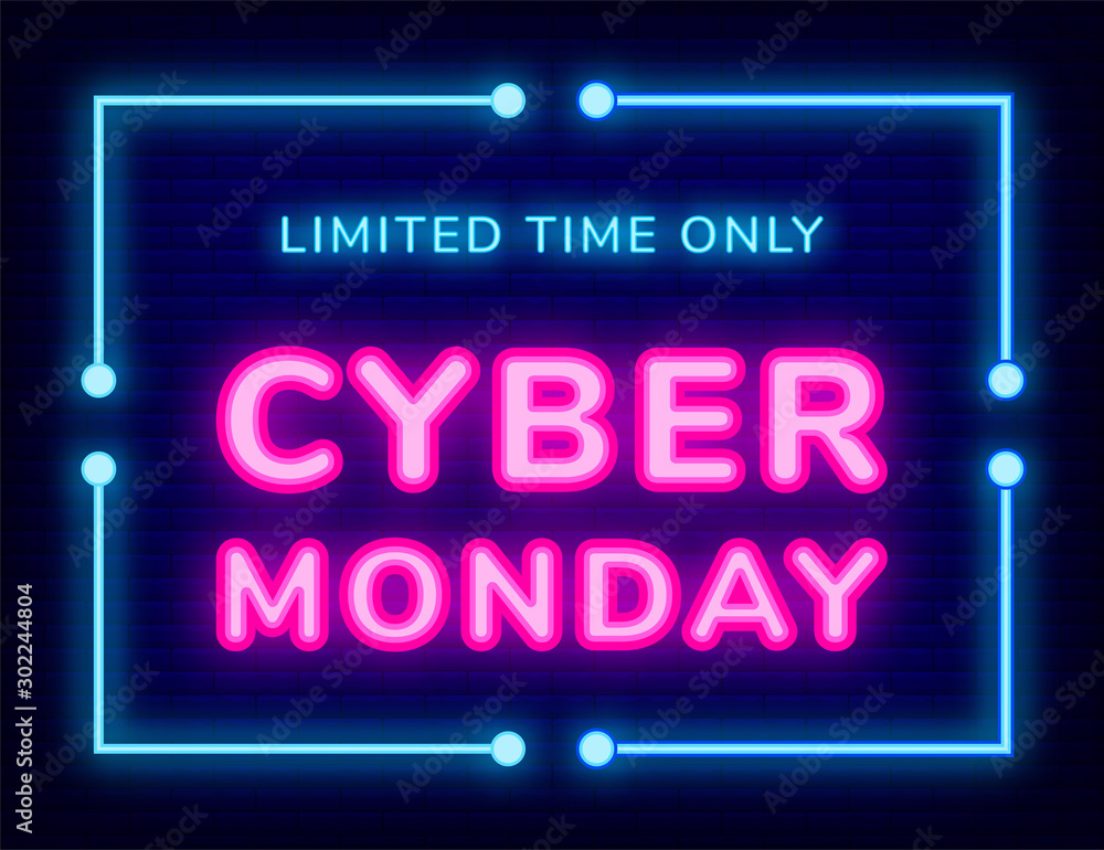 Fototapeta Poster with laser symbol of limited time only cyber Monday. Board decorated by business promotion of sale. Internet technology for shopping, advertising link for store with neon objects on dark vector