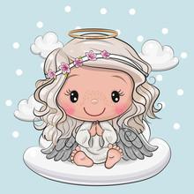 Cartoon Christmas Angel Is Sit...