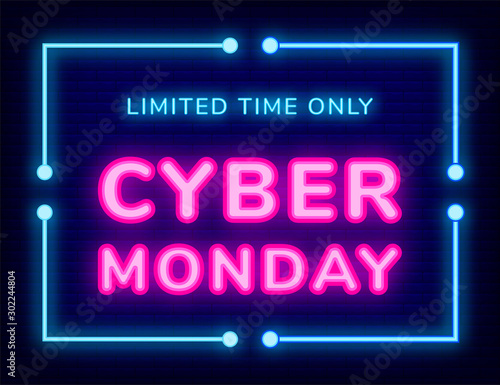 Fototapeta Poster with laser symbol of limited time only cyber Monday. Board decorated by business promotion of sale. Internet technology for shopping, advertising link for store with neon objects on dark vector obraz na płótnie