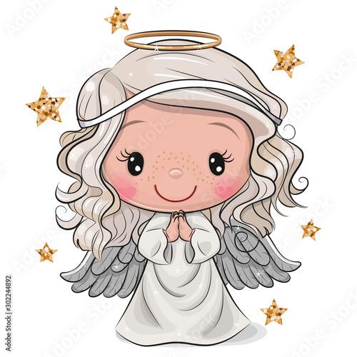Canvastavla Cartoon Christmas angel isolated on white background