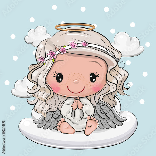Canvas Print Cartoon Christmas angel is sitting on a cloud