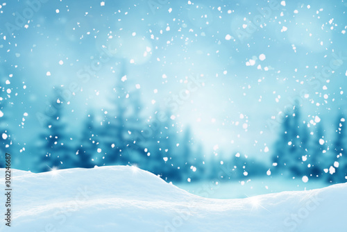 Fotobehang Bomen Christmas landscape.Snow background.Winter fairytale.Merry christmas and happy new year greeting card with copy-space.