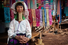 Chiang Rai Province, Thailand, Karen Long Neck Woman In Hill Tribe Village Near Chiang Rai City