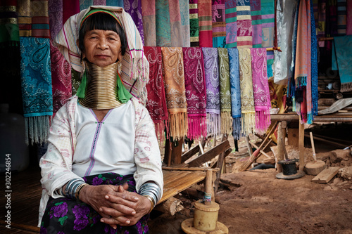Canvas Print Chiang Rai Province, Thailand, Karen Long Neck Woman in Hill Tribe Village Near