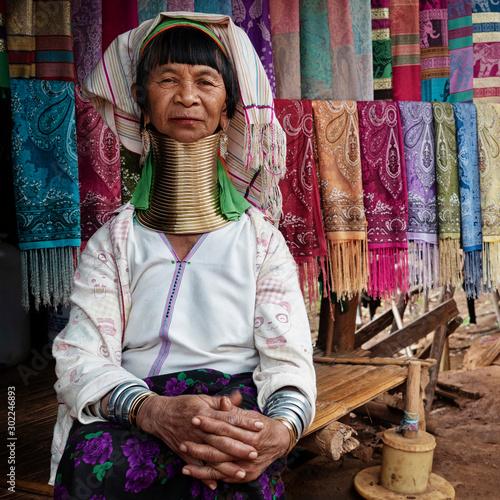 Vászonkép Chiang Rai Province, Thailand, Karen Long Neck Woman in Hill Tribe Village Near