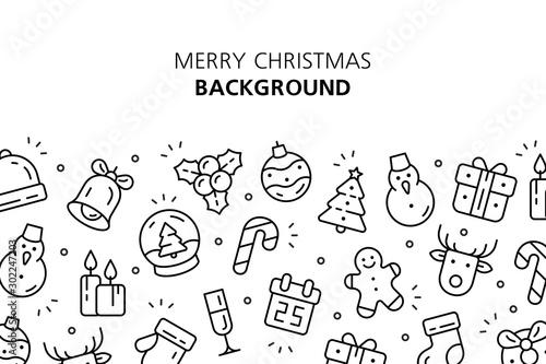 Obraz Christmas icons background. Isolated on White background - fototapety do salonu