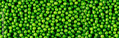 Fotografie, Tablou Background and texture of green peas. Panorama.