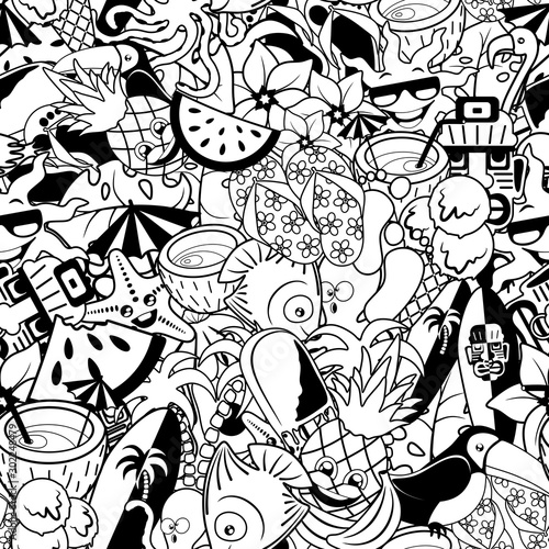 Photo sur Aluminium Draw Tropical Doodles Summer Party Vector Seamless Repeat Pattern