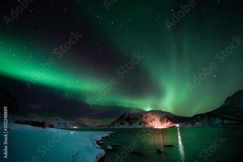 Poster Aurore polaire Norway aurora borealis Lofoten Islands