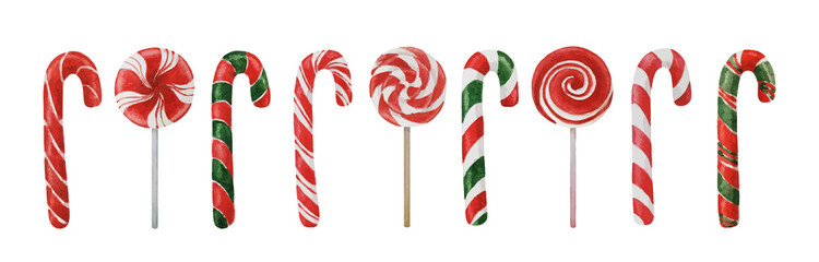 Christmas candy canes and lollipops collection isolated on white, watercolor illustration for winter holidays design