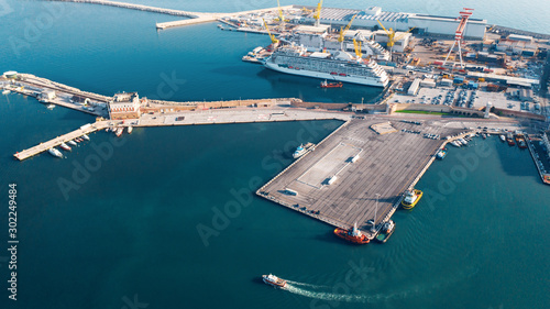 Aerial view of port for import and export and Logistics, big port of Ancona, Ita Canvas Print