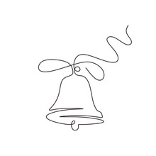 Continuous One Line Drawing Of Christmas Bell Minimalism. Vector Illustration With Traditional Church Bells.