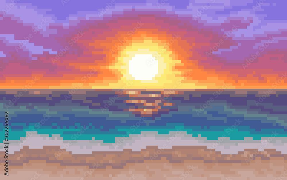 8-bitowe tło. plaża ze słońcem i morzem <span>plik: #302256082 | autor: bettiluna</span>