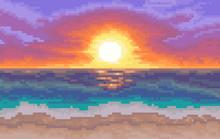 8 Bit Background. Beach With S...