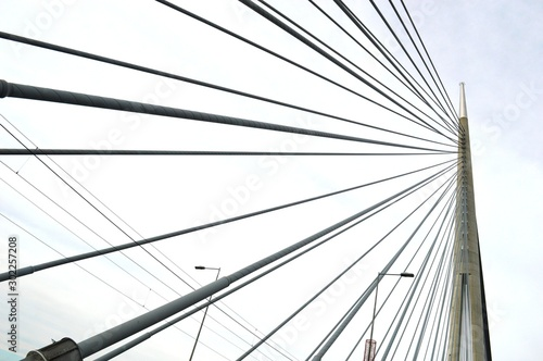 Fototapety, obrazy: a modern bridge with wires