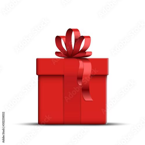 Vector Realistic Red Gift Box Fototapeta