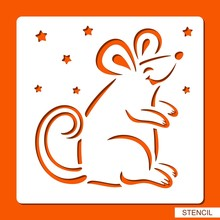 Stencil With A Cute Mouse. Cartoon Character. Silhouette Of Rat. Template For Laser Cutting, Wood Carving Or Paper Cut. Decor For Children's. Vector Illustration.