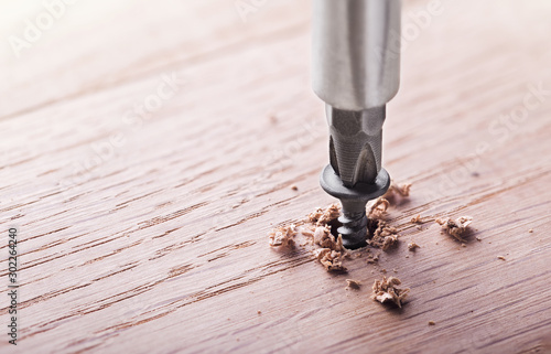 Obraz screwdriver screw in a wood oaks plank - fototapety do salonu