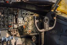 Vintage Boeing 707 Flight Deck. Inside The Cockpit