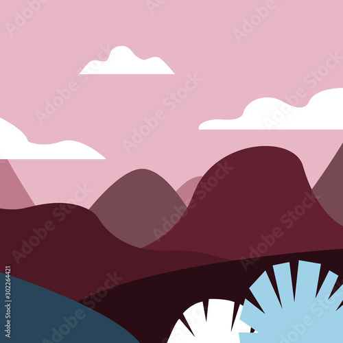 Foto op Aluminium Lichtroze Vector illustration in trendy flat style and with copy space for text - landscape with mountains and hills- vertical banners, backgrounds and wallpapers for social media stories, banners
