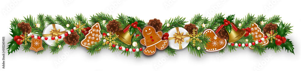 Christmas border decorations garland with fir branches, gingerbread cookies, golden bells, holly berries and cones. Design element for Xmas or New Year on white background. Vector