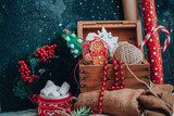 Christmas box with decorations. Winter Holiday Background