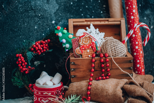 Fotografie, Obraz  Christmas box with decorations. Winter Holiday Background