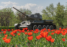 Victory Tank T-34-85 In The Park Among Tulips Against The Sky