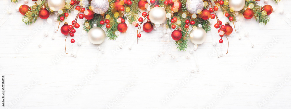 Fototapety, obrazy: Classic Christmas composition with fir branches and white and red baubles on white wooden background. Noel banner for website.