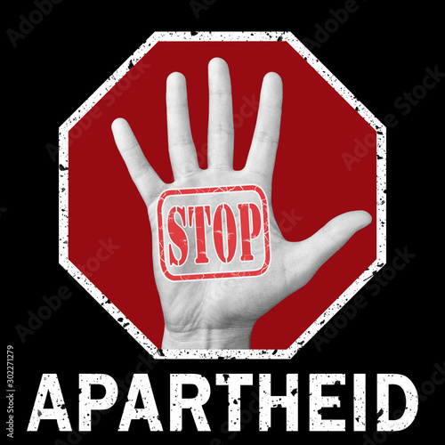 Stop apartheid conceptual illustration. Social problem Fotobehang