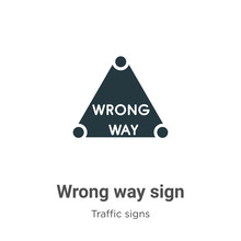 Wrong Way Sign Vector Icon On ...