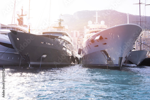 Super yachts moored in Monaco harbour  Monaco yacht show