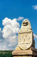 A Mighty Lion Guards The Tsarevets Fortress Entrance. Veliko Tarnovo, Bulgaria