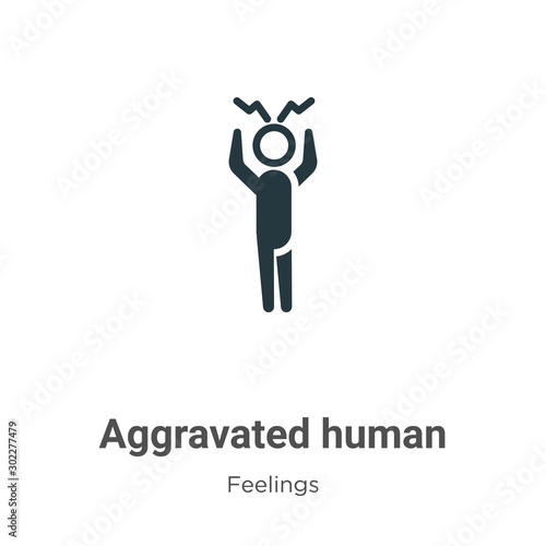 Aggravated human vector icon on white background Wallpaper Mural