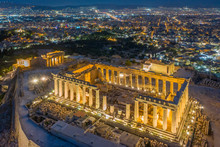 Greece, Athens, Aerial View Of The Parthenon
