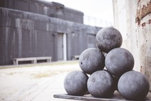 Closeup Shot Of Cannonballs On...